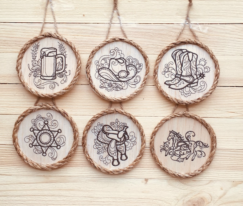 Western Christmas Tree Decorations.Country Western Ornaments Set Of 6 Western Party Favors Southwestern Theme Christmastree Decorations Balsa Wood Embroidery Art
