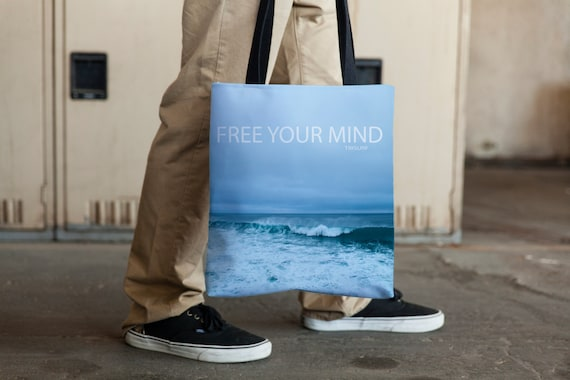 Tote, Beach Bag, Beach Tote, Free Your Mind, 15x15 Weather Resistant