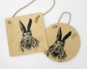 Wild Rabbit Wooden Plaque