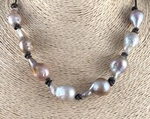 Mother s Day Gift, Large Baroque Pearl Necklace, Gray Pearls, Leather Necklace