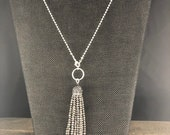 Gray Necklace, Crystal Tassel Necklace, Tassel on Chain Necklace