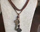 Bolo Necklace, Suede Necklace , Vintage Key Charms