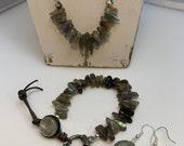 Labradorite Jewelry Set, Labradorite on Natural Gray Leather, Labradorite Bracelet, Crystal Cut Earrings