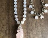 Rose Quartz Necklace Set, Wire Wrapped Pendant Necklace, Beaded Gemstone Necklace, Boho Chic Necklace