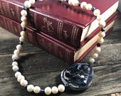 Navy Agate Focal Piece Necklace, Pearl Necklace, Statement Necklace