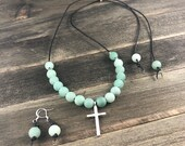 Adventurine Gemstone Necklace, Leather Necklace, Matte Gemstone Necklace