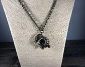 Bronze Elephant Pendant Necklace, Diffuser Necklace, Lava Bead Necklace