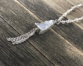 Gray Moonstone Beaded Necklace, Gray Druzy Pendant with Silver Electroplating, Handwrapped Stones, Rosary Chain Necklace