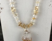 Amber Citrine Gemstone Necklace, Beaded Gemstone Necklace, Amber Pendant Necklace