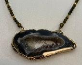 Druzy Agate Necklace, Gold Electroplated, Smokey Quartz Beaded Necklace, Gemstone Necklace,