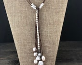 Pearl and Leather quot Y quot Necklace