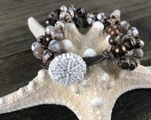 Brown Agate Pearl and Leather Bracelet, Brown Pearls, Copper Beads, Vintage Button Closure