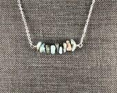Larimar Bar Necklace, Choker Necklace, Gemstone Necklace