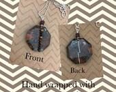 Brecciated Jasper Gemstone Necklace, Jasper Pendant, Wire Wrapped Pendant