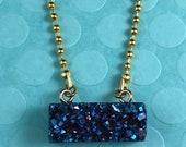 Druzy Navy Blue Bar Necklace, Raw Druzy Necklace, Sparkly Necklace