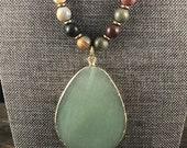 Adventurine Gemstone Pendant Necklace, Picture Jasper Beaded Gemstone Necklace, Leather Necklace, Matte Jasper Gemstone Necklace