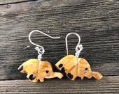 Carved Wood Elephant Earrings