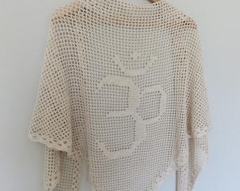 OM, Crocheted Beige Shawl with OM Symbol, Yoga Shawl