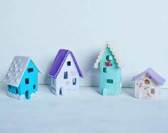 felt house, led tealight house, housewarming gift, cute small houses, felt miniature village, mini felt home, tiny light house, night light