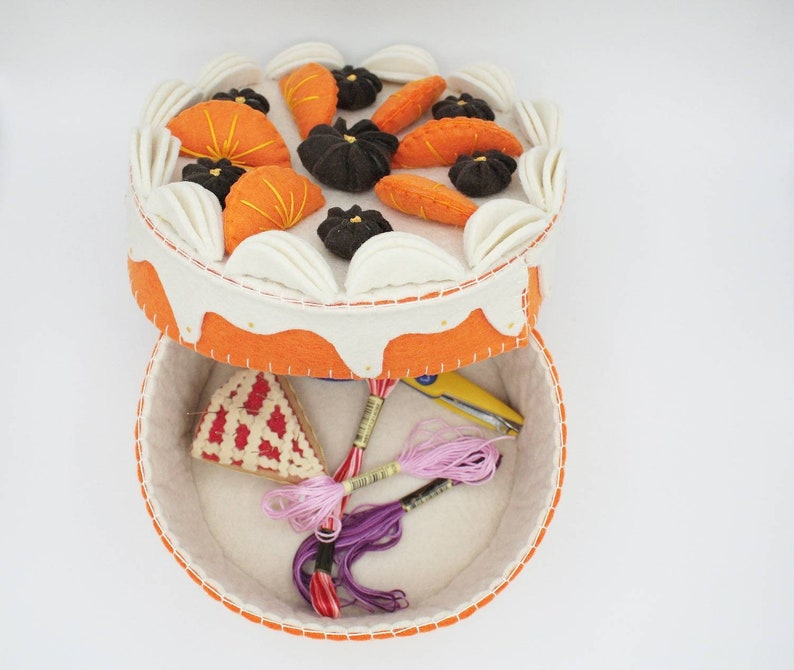 fake cake sewing supplies box image 0