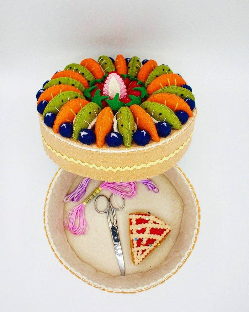fake fruit cake sewing supplies box image 0