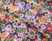 Fabric, Floral Fabric, Springtime dress print, floral yardage, soft fabric, flower print fabric, yardage