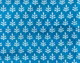 Turquoise and white cotton, dress materials, cotton, sale, yardage, fabric from India