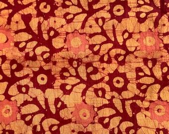 Batik, orange floral cotton print, 100% cotton, fabric from India