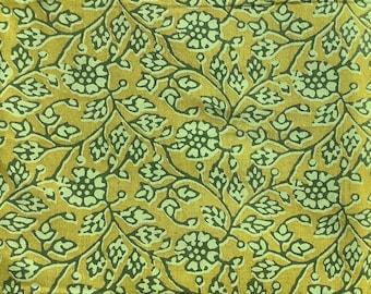 Block print, green Indian cotton, dress materials, vintage block print, paisley print