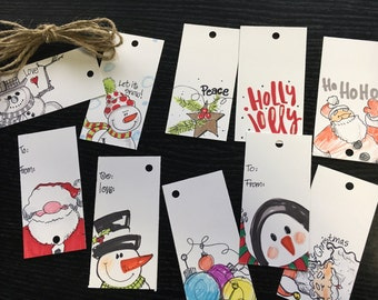 Hand drawn Christmas Gift tags--variety package of 10!