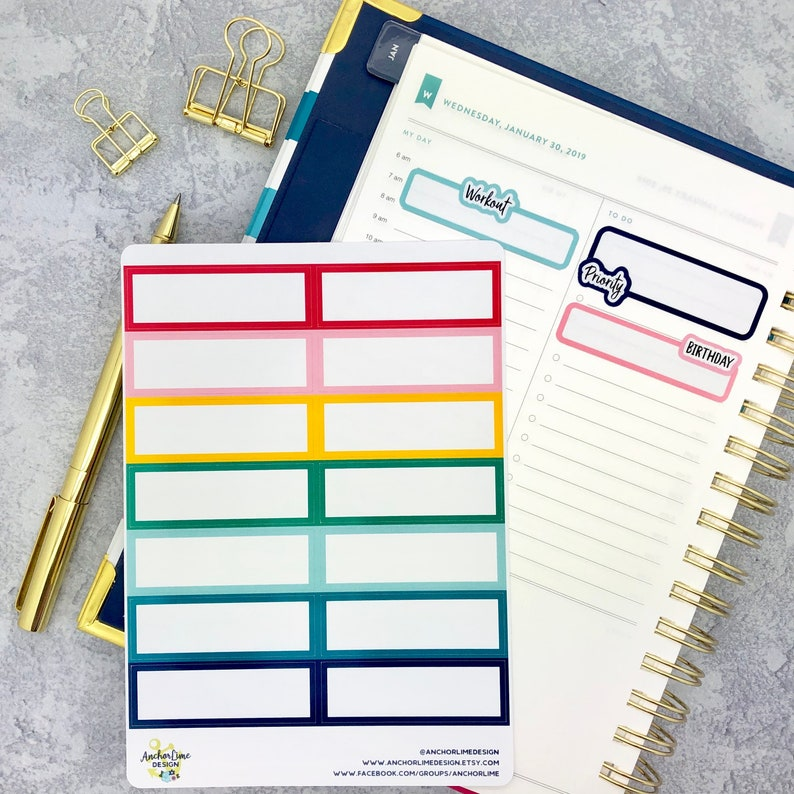 image regarding Simplified Planner Emily Ley called Simplified Planner Planner Sticker Packing containers Emily Ley 3 Line  Sensible Appointment Rainbow Custom made