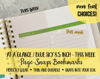 Bookmark THIS WEEK | At a Glance Blue Sky Office Depot 8.5 inch | Page Snap | Page Marker | Planner Clip | Coil | Dashboard | Spiral Snap
