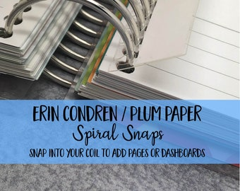 Erin Condren | Yellow Paper | House Plum Paper | Spiral Snaps - set of 5 - Planner Clip | Coil | Dashboard | Planner Pages