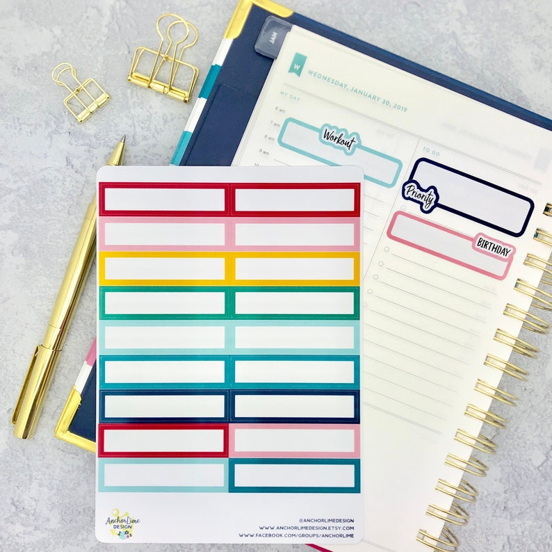 photograph relating to Emily Ley Planners known as Simplified Planner Planner Sticker Bins Emily Ley 2 Line  Practical Appointment Rainbow Personalized