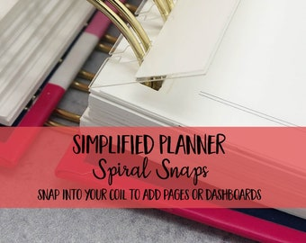 Emily Ley Simplified Planners | Spiral Snaps - set of 5 - Planner Clip | Coil | Dashboard | Planner Pages | Planner Accessory | Bookmark |
