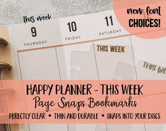 Bookmark THIS WEEK | Happy Planners | Page Snap | Page Marker | Discs | Coil | Dashboard | Spiral Snap