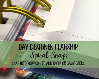 Day Designer Flagship | Spiral Snaps - set of 5 - Planner Clip | Coil | Dashboard | Planner Pages