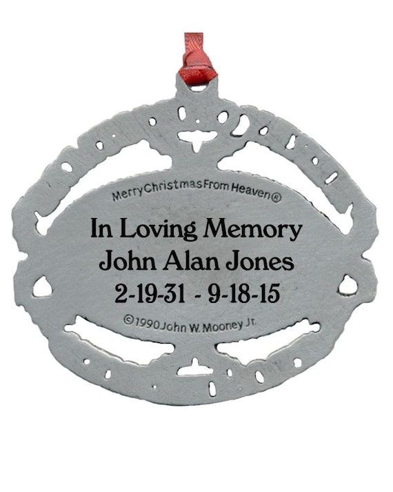 Christmas From Heaven Ornament Engraved With Loved Ones Names And Birth And Death Date With Poem Card And Presentation Box
