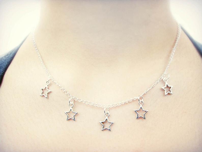 7c668166e4d Star Necklace // Star Charm Choker // Silver Star Jewelry // Boho Choker  Necklace // Celestial Jewelry // Stars Choker // Kawaii Necklace