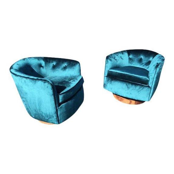 Milo Baughman Style Barrel Swivel Chairs | Etsy