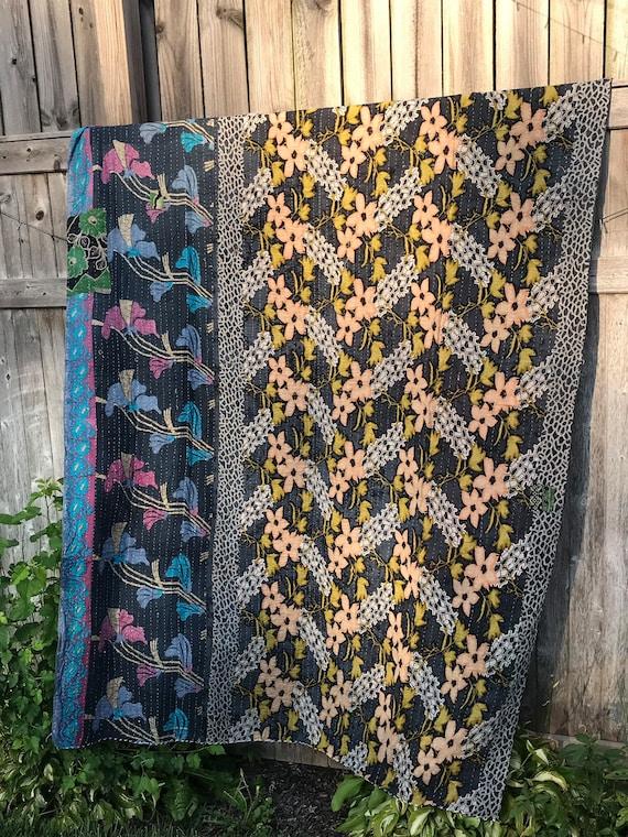 Throw Beach Tapestry #106 Cotton Blanket Handmade Baby Blanket Vintage Kantha Quilt Twin Size Quilt