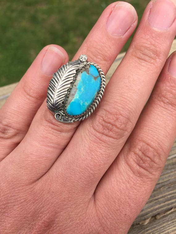 Sleeping Beauty Turquoise Feather Old Pawn Native