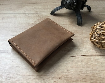 9a307f3c4599 Handmade bifold small leather wallet