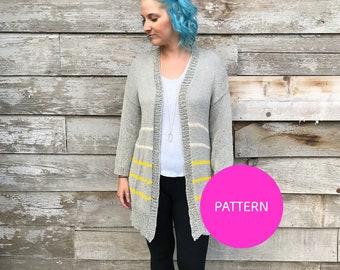PATTERN ONLY *** Striped Down Cardi, knit cardigan, knit cardigan pattern, striped cardigan, striped knit cardigan, striped cardi, cardigan