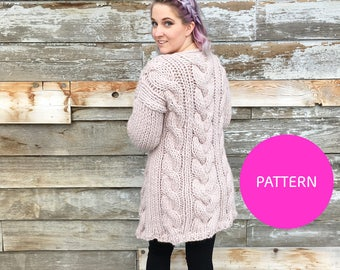 Pattern/ Knitatude Cable Crush Coat pattern, cable crush cardi, cable crush cardigan, knit cardigan pattern, knitting pattern, cardigan
