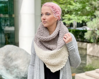 KNITTING PATTERN ** Snow Cap Triangle Scarf, two-tone knit scarf, two-tone knit shawl, triangle shawl, knit blanket scarf, knit scarf