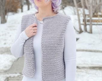 KNITTING PATTERN ** Solo Vest, knit vest pattern, herringbone knit vest, Herringbone vest, chunky knit vest, structure knit vest, boxy vest