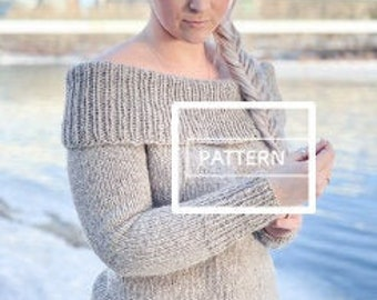 KNITTING PATTERN ** Cold Shoulder pullover, sexy knit sweater pattern, over the shoulder sweater, off the shoulder sweater knit pattern