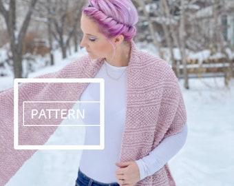 KNITTING PATTERN ** Seedling Scarf, beginner knit scarf, seed stitch scarf, textured knit scarf, knit scarf pattern, extra wide knit scarf