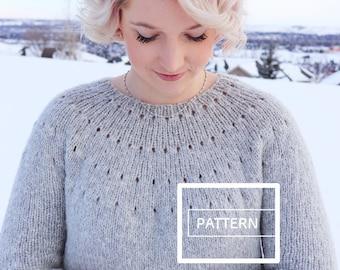 e0f3f1a02 KNITTING PATTERN    Easy Eyelet Yoke Sweater pattern